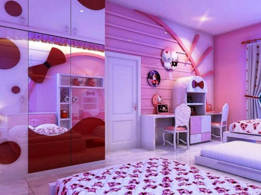 Phòng ngủ màu tím tô điểm màu đỏ hiện đại