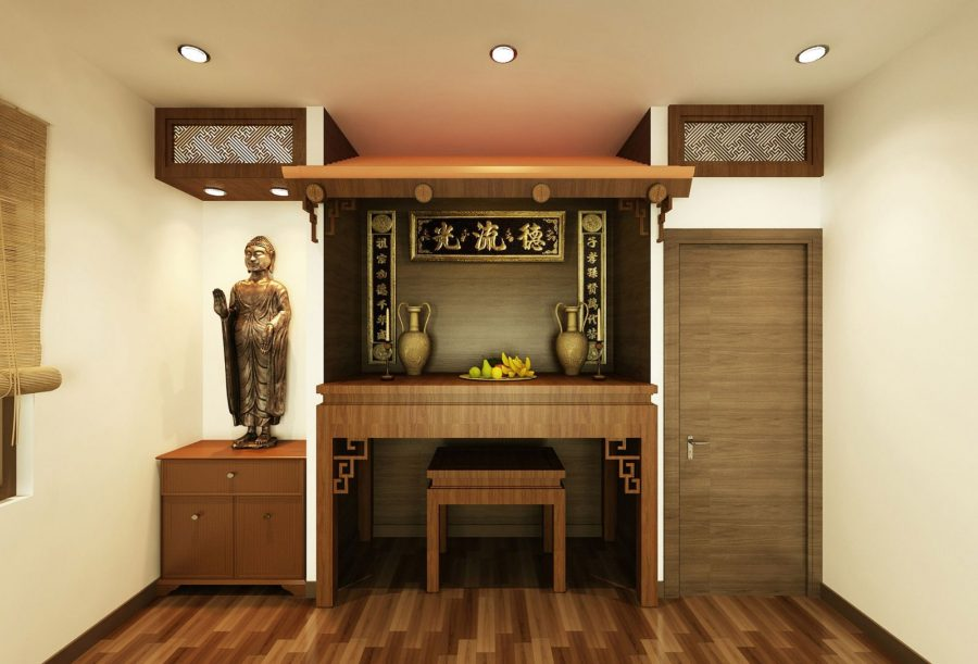 phòng thờ phật tối giản