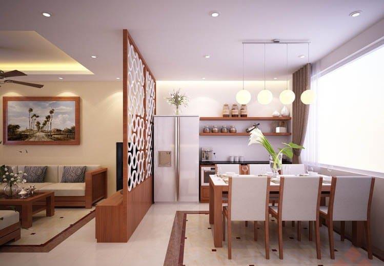 Vách ngăn phòng khách và phòng bếp