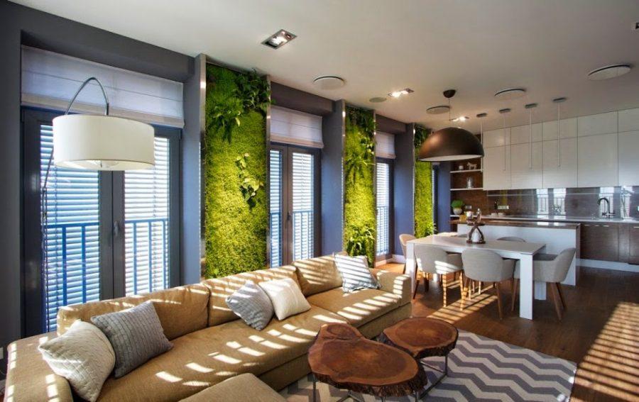 Những mảng tường xanh quá chất trong căn hộ chung cư
