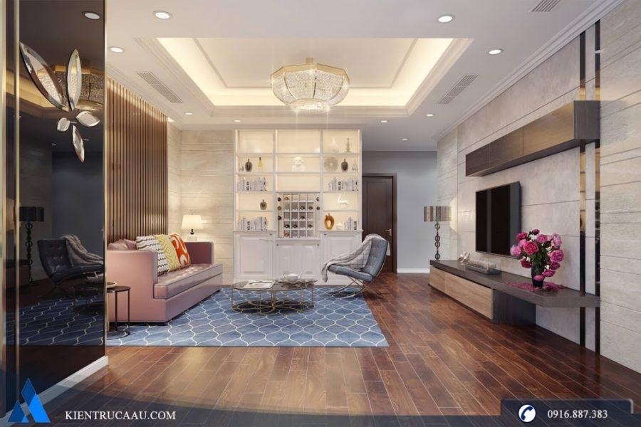 không gian phòng khách hiện đại ấm cúng
