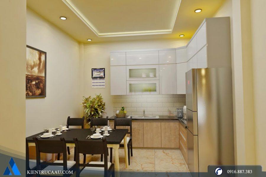 Phòng bếp nhỏ gọn ấm áp