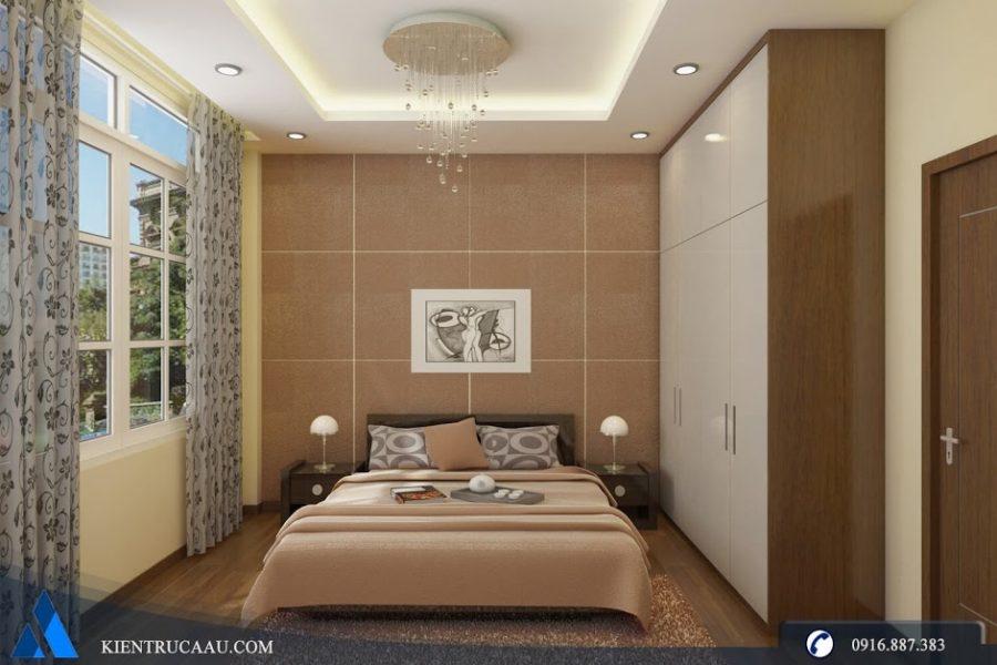 Phòng ngủ bố mẹ nhỏ nhưng vẫn đáp ứng được công năng sử dụng